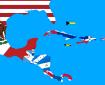 Mapa de bandeiras da América Central e do Caribe